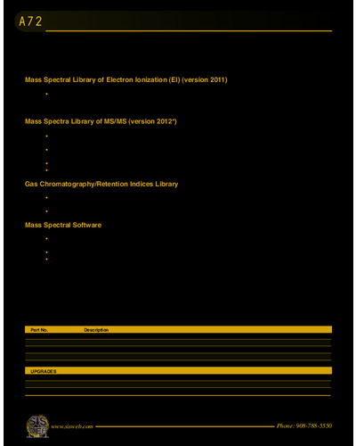 NIST Mass Spectral Library & Software (Catalog A72)