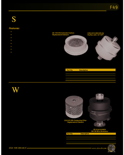 SIS™Charcoal Trapping Exhaust Filter & Oil Mist Eliminator (Catalog F49)