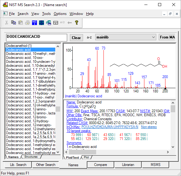 NIST 17 / NIST 20 Mass Spectral Library, NIST 2020/2017 Database, Agilent Format Available