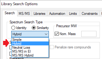 NIST hybrid search option in Library Search Options dialog box