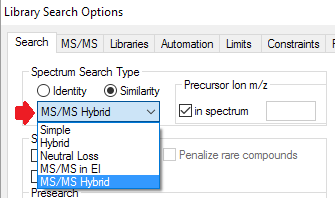 NIST MS/MS hybrid search option in Library Search Options dialog box