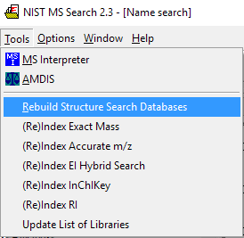 Reindexing NIST libraries from the Tools menu